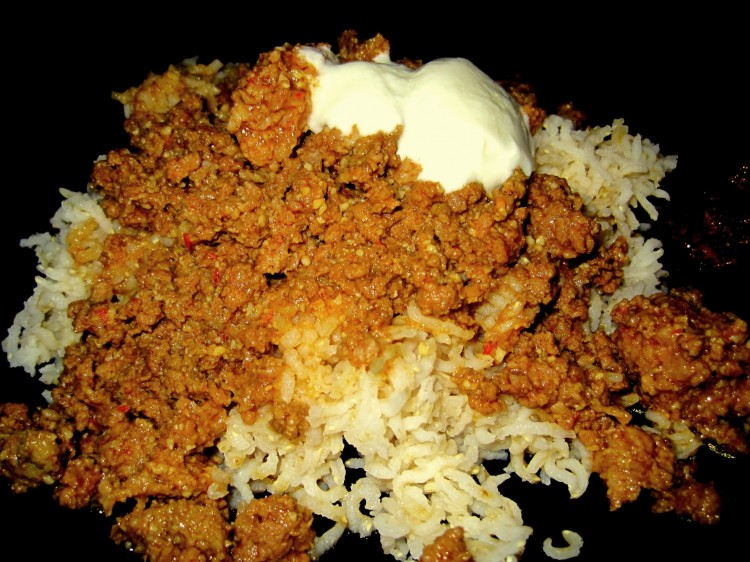 Indian style sloppy joes akitachow a food site and a big dog butter ground meat over rice aka indian sloppy joes forumfinder Gallery
